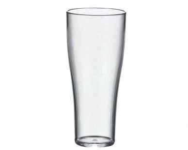 10 Stk. glasklare Mehrwegbecher SAN, Weizenbierbecher 300ml mit Füllstrich