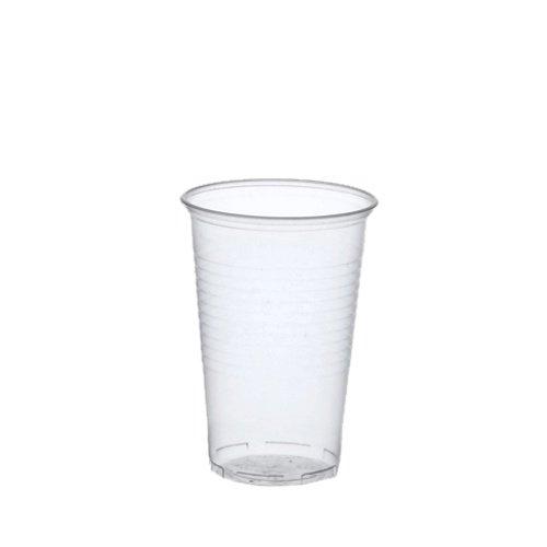 Papstar Plastikbecher / Kunststoffbecher 0.3 l transparent (100 Stück) ø 7.8 cm, Höhe 11.3 cm mit Füllstrich, praktischer Einwegbecher