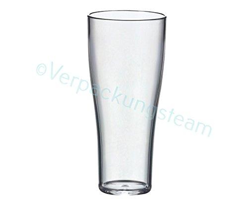 5 Stk. glasklare Mehwegbecher SAN, Weizenbierbecher 300ml