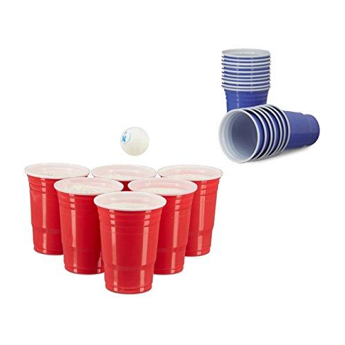 100 x Beer Pong Becher in Blau, Getränkebecher 473 ml / 16 oz, Partybecher US College Style, versch. Farben (Mix)