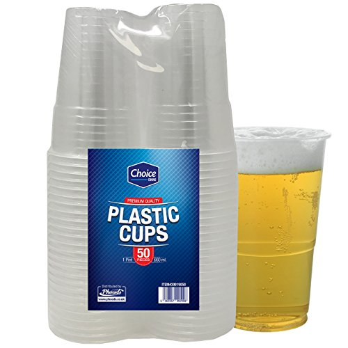 50 Stück Plastikbecher Kunststoffbecher pintbecher transparent 660ml