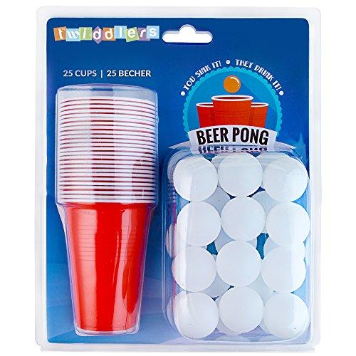 Beer Pong Set – 25 rote Becher und 25 Bälle